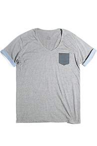 makenoise) Fake pocket V neck GREY