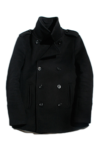 resonance) wool double peacoat Black