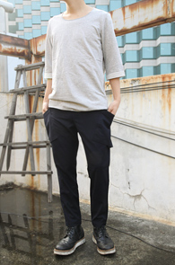 Grey Cutting Half T-shirts<br>�⺻���� �÷����� ���� ��밨
