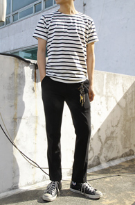 Simple Stripe T-Shirts Black<br>��ư����, ��Ʈ������ ������<br>����ö Ȱ�뵵�� ���� �ܰ���Ƽ