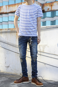 Simple Stripe T-Shirts Blue<br>��ư����, ��Ʈ������ ������<br>����ö Ȱ�뵵�� ���� �ܰ���Ƽ
