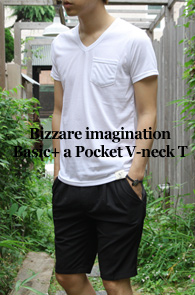 Bizzare imagination Basic +<br>a Pocket V-neck T<BR>��ư����, ���ϵ������� ���̳� Ƽ����