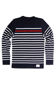 resonance) Red Point Stripe cotton knit