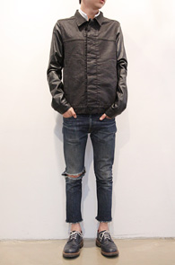 Black Cotton Leather Mix Jacket<br>��ư�� ����ũ��������<br>��ũ�����츦 ��Ƽ��� ���۵� ��ǰ