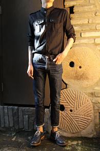 'a Monotonic' Black Epaulet shirts<br>���̳� ī�� ������, ���� ������<br>�? ��ư ������ �и��� ����