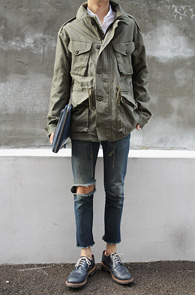 Cotton Military Jacket Khaki<br>īŰ�÷�,��ư����<BR>M65 ��Ƽ��� ���۵� �߻�����