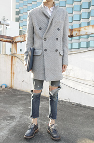 Light Grey Herringbone Double Coat<br>�층������, �ܿ�� ��Ʈ<br>�층�� ����� ���۵� ������Ʈ