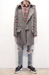 Grey Wool Rider Hood Coat<br>�����÷�, �����<br>������Ƽ�� ���̴�Ÿ�� �ĵ���Ʈ