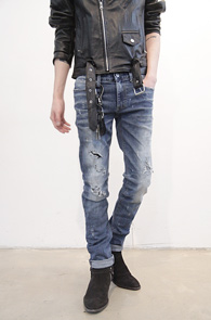 Blue Damage Effect Denim Pants<br>����� ���̰���, ������ ����<br>��Ƽ���� ������ ���� ��������