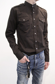 Black Cotton Military Shirts<br>��ư����, ��������<br>�?�÷� ����������� �и��͸�����