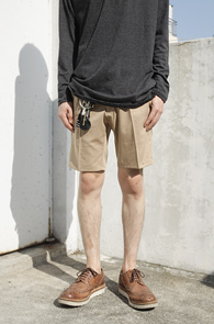 Beige TR Half Slacks Pants<br>�������÷�, TR����<BR>��Ʈ�� ���尨�� ���� ����������