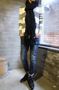 Basic Simple Grey Stripe Knit <br>�׷��� ����, ��ũ������<br>������ �������� ��Ʈ������ ��Ʈ