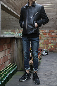 Black Leather Wool Mix Jacket<br>����ũ������ ������� �ͽ�<br>���̴� ��Ÿ���� �� ���� ����