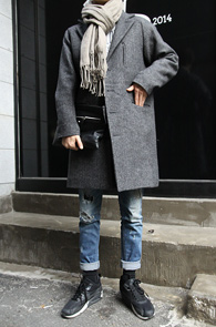 Grey Box Fit Balmacaan Coat<br>�׷����÷�, �����<br>�پ ���¼��� �ڽ��� ��Ʈ