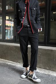 Black Stripe Wool Slacks<Br>�?�÷�, �� ����<br>��Ʈ������ ������ ������
