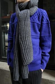 2 Color Wool Long Muffler