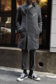 Grey Wool Rider Long Coat<br>�����÷�, �����<br>������ ���۵� �� ���̴� ��Ʈ
