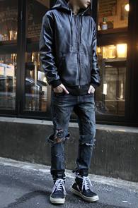 Black Fake Leather Hood Zipup<br>����ũ��������, ���Ȱ�<br>��Ư�� ���簨�� �ĵ����