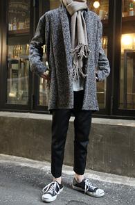 Grey Wool Knit Open Cardigan<br>�����÷�, ��� �Ȱ�<br>��������� �� ��Ʈ �����