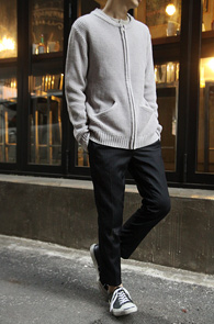 Grey Round Neck Knit Zip-up<br>�����÷�, ���� �ض���<br>�������� �������� ��Ʈ���