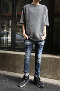 Grey Over Fit Lettering T-Shirts<br>�����÷�, ������<br>�������� ���� Ƽ����