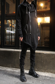 Black Cotton Unbalance Long Hood<br>�?�÷�, ��ư����<br>���Ī �������� �� �ĵ����