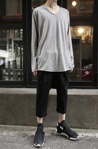 Grey Loose Fit Long T-Shirts<br>�����÷�, ��ư����<br>������ �Ͱ��� ��Ƽ����