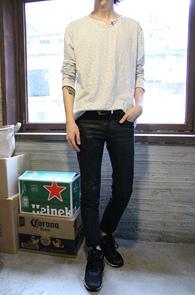 Black Stripe Henry Neck T-Shirts<br>���̺��� �÷��� �? ��Ʈ������ ����<br>����� �������� ��� ��Ʈ������Ƽ