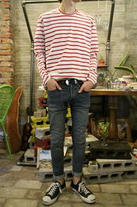Red Cotton Basic Stripe T-Shirs<br>�����ȭ��Ʈ ����� ��ư����<br>����� �������� �⺻ �ܰ��� Ƽ����