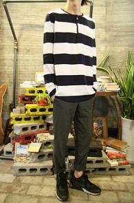 Big Stripe Henry Neck T-Shirts<Br>���̺� ��ȭ��Ʈ�� �� ��Ʈ������<br>����� �������� �ܰ��� ��� Ƽ����
