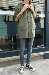 Khaki Military Cotton Jacket<br>īŰ�÷��� ��ư����<br>�������� �������� �� ����
