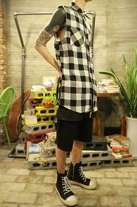 Black Check Sleeveless Side Zip Shirts<br>�μҸ� ���̵� ���� üũ����<br>���� ���尨�� ���̾���