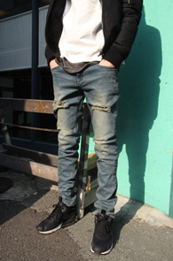 Crush Washed Slim Denim Pants<br>��Ʈ���̵� ������ ���� ����<br>���� �� �Ƿ翧,���� �ټǰ�