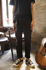 Black Stripe Banding Pants<br>�˳��� �Ͱ��� �㸮 ��� ������<br>��Ʈ������ ������ ��ư����