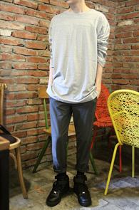 Over Fit Grey Long T-Shirts<br>�ε巯����ġ���� ��ư����<br>�����ο� �ڽ����� Ƽ����