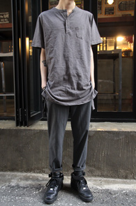 Henry Neck long T-Shirts Grey<br>��� �� Ƽ����<br>Ʈ������ ���尨�� ���� ��밨