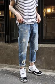 Mid Blue Washing Crop Pants<Br>��û���� ���̰��� �÷�<br>ũ��Ʈ ������ ������ ����