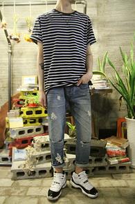 2 Color Basic Stripe T-Shirts<br>���̺�� ȭ��Ʈ �ΰ��� �÷�<br>��Ʈ������ ������ �⺻ Ƽ����