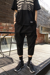 Black Crop Fit Cargo Baggy Pants<br>�?�÷�, ũ��Ʈ��<br>������� ī������