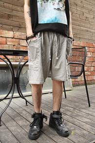 Grey Color Cotton Half Pants<br>�����÷�, ��ư����<br>����ũ�� �������� ��������