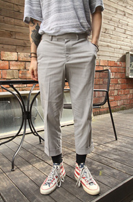Grey Stripe Crop Slacks<br>��Ʈ����Ʈ��, ������ ��Ʈ������<br>ũ��Ʈ ���� ���̵� ������