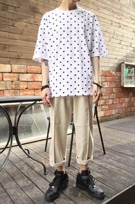 White Basic Dot T-Shirts<br>ȭ��Ʈ �÷�, ��Ʈ���� ����<br>������ �����̴� �⺻Ƽ����