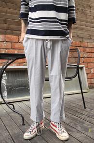 Grey Wide Fit Banding Slacks<br>�����÷�, ������ ��Ʈ������ ����<br>���������� ���̵� ������