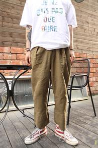 Khaki Linen Wide Fit Pants<br>īŰ�÷�, ���� ����<br>���̵��� �Ͱ��� ����