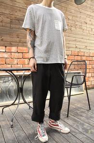 Ivory Pocket Stripe T-Shirts<br>���̺����÷�, ���κ��� ���� ����Ʈ<br>��Ʈ������ ������ ��� Ƽ����