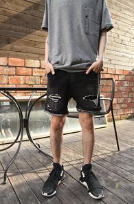 Black Damaged Half Denim Pants<Br>�?�÷�, ������ ����<br>5�������� ���尨�� ����������