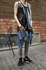 Fake Leather Black Sleeveless<br>����ũ���� ����, ������ ������<br>��Ư�� ���簨�� �����긮��