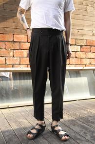 Black TR Wide Fit Slacks<br>�?�÷�, TR ���<BR>���̵��� �Ͱ��� ������