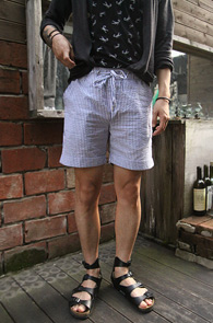 Stripe Seersucker Turn Up Pants<BR>��Ʈ������ ������ �þĿ ����<BR>����� �������� ���� ����