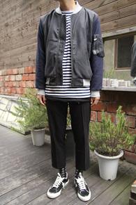 Grey Color Mix Wool MA-1 Jacket<br>���̿� ���̺��� ���������<br>����� �β����� �װ�����